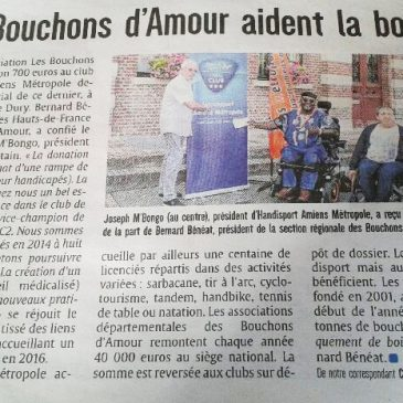 COMMUNICATION / «Les Bouchons d'Amour aident la Boccia» (Courrier Picard)